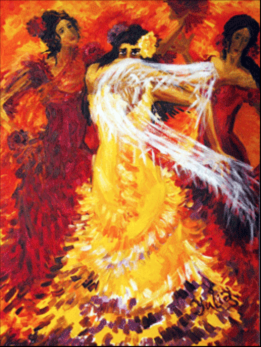 Flamenco Dancer with White Scarf